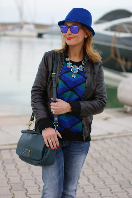 leather bomber jacket, blue statement necklace, Oakley mirror sunglasses, Fashion and Cookies, fashion blogger