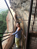 Descending from frescoes gallery, Mirror Wall by metal staircase, advanced ancient technology, Sigiriya, Sri Lanka mystery