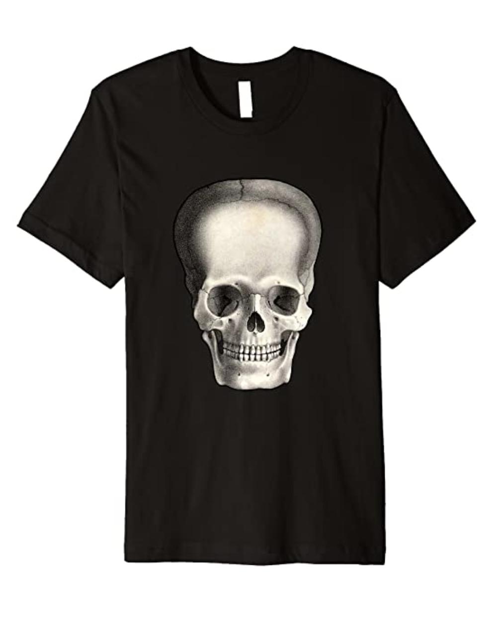 Goth Punk Vintage Skull Horror Gothic Illustrated Skeleton Premium T-Shirt