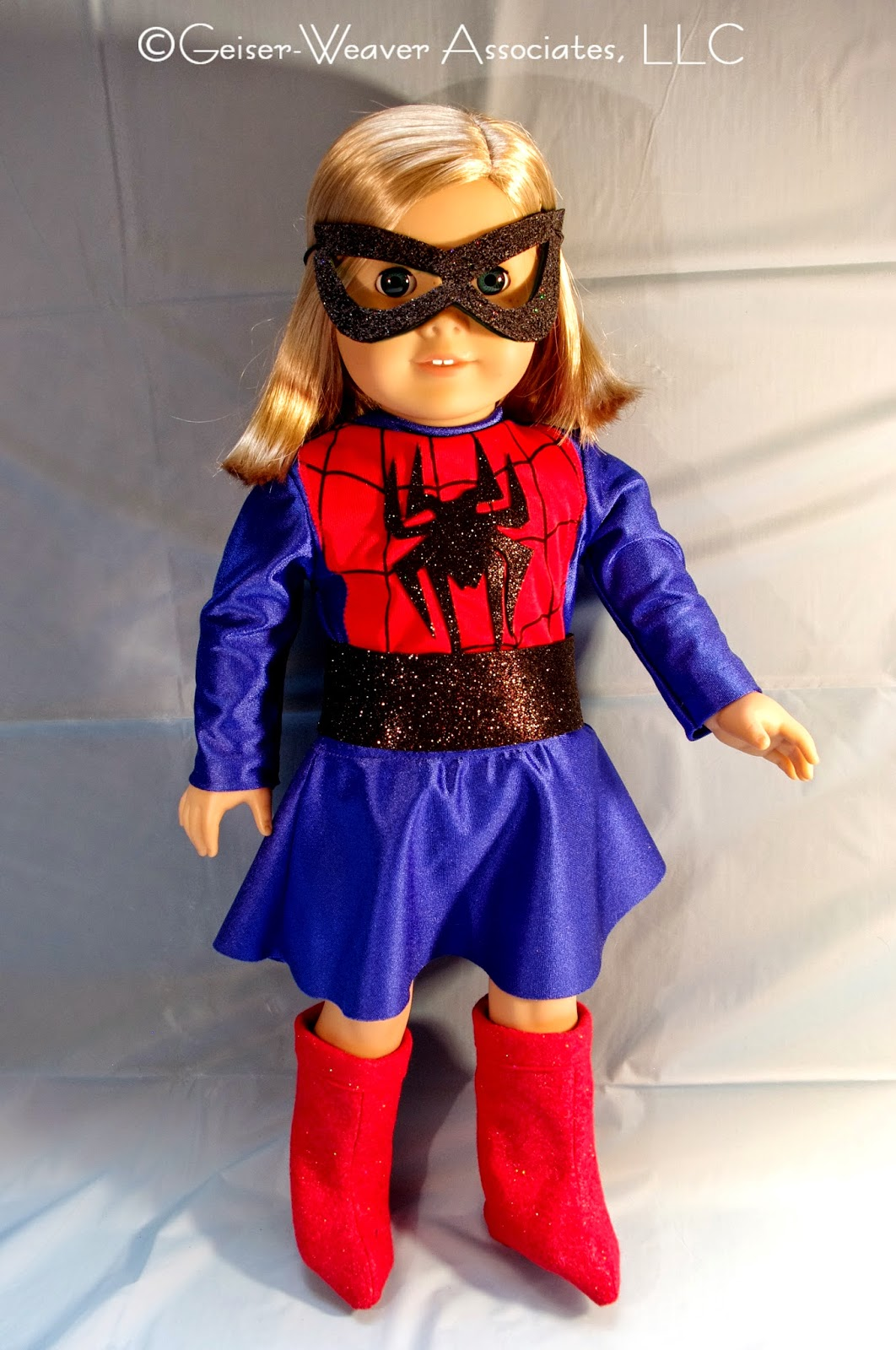 Spider Girl-type costume for dolls by Geiser-Weaver Associates, LLC