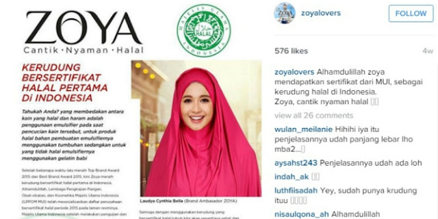 Zoya mendapat sertifikat halal