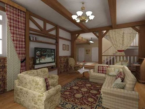 Country house and cottage living room style ideas for Country style family room ideas