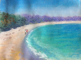 soft pastel painting of a seashore on strathmore paper by Indian artist Manju Panchal
