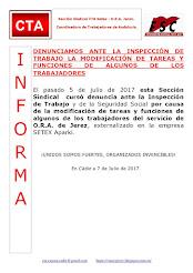 DENUNCIAMOS ANTE LA INSPECCIÓN DE TRABAJO LA MODIFICACIÓN DE TAREAS Y FUNCIONES DE ALGUNOS DE LOS T