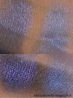 A sinistra Pigment Loose Eyeshadow di Kiko in 08 Blu Elettrico, a destra Night Life di Neve Cosmetics (sopra su base neutra, sotto su base scura)