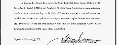 Judge Guy Herman's order finding Texas prohibition of same-sex marriage unconstitutional