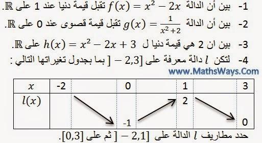 عموميات حول الدوال العددية جزء3 مطاريف دالة + تمرين محلول