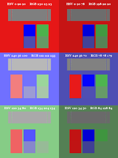 Color Pattern; Small Blocks on Top;  Dithered Gradient; Mode Color