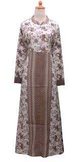 GPL-03 Gamis Batik Cantik Cokelat Dasar Putih Size M, Size L