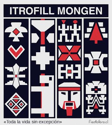 Una serie de imágenes de conceptos mapuche que son típicas de los textiles. Animales, estrellas, rostros, etc, ilustran el concepto de itrofil mongen o biodiversidad.