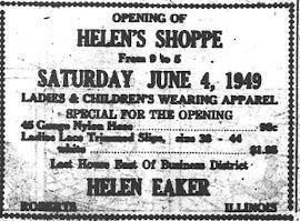 Helen's Shoppe 1949 Ad