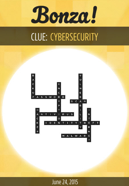 Bonza Daily Word Puzzle Clue CYBERSECURITY Answers June 24, 2015