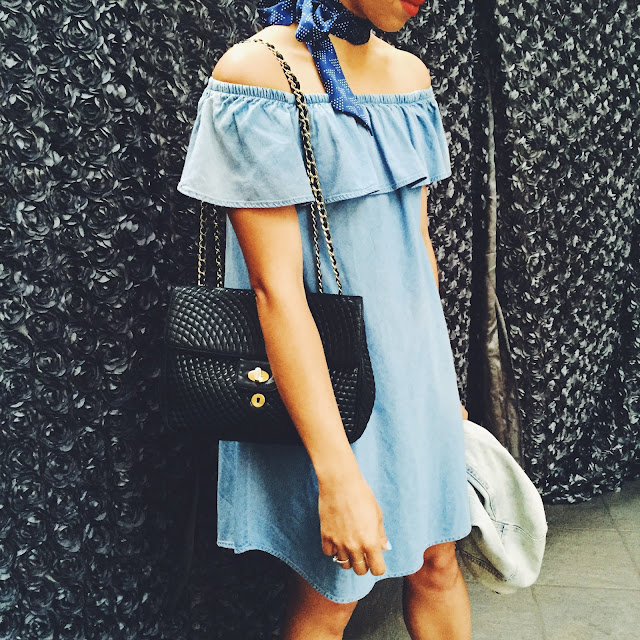 OOTD, outfit of the day, off the shoulder chambray dress, Bally chain bag, black chain bag