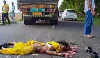 Dead body of young girl who was thrown off a running vehicle after molestation