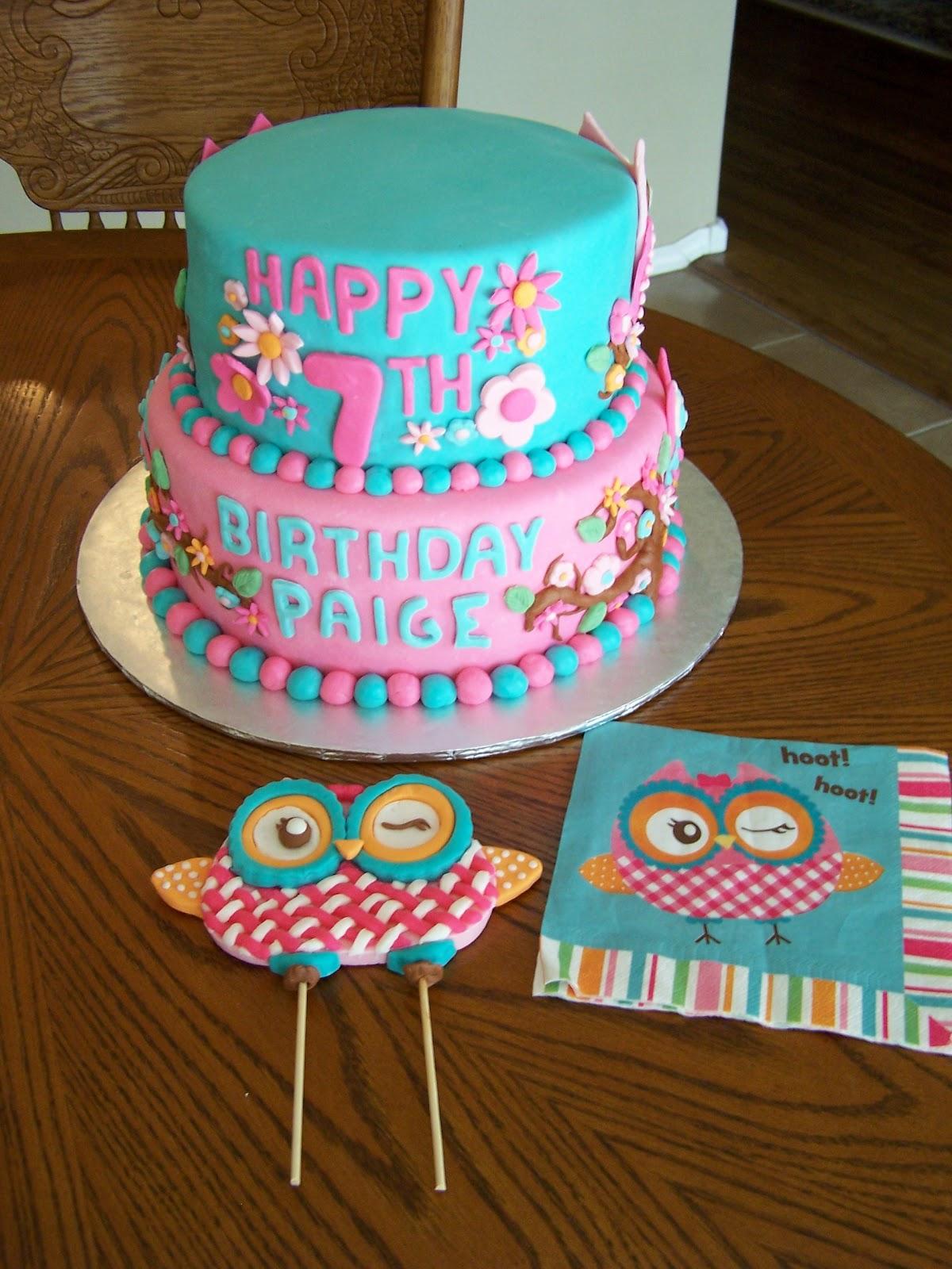 Heather Calvin Cakes Owl themed cake for a girly girl