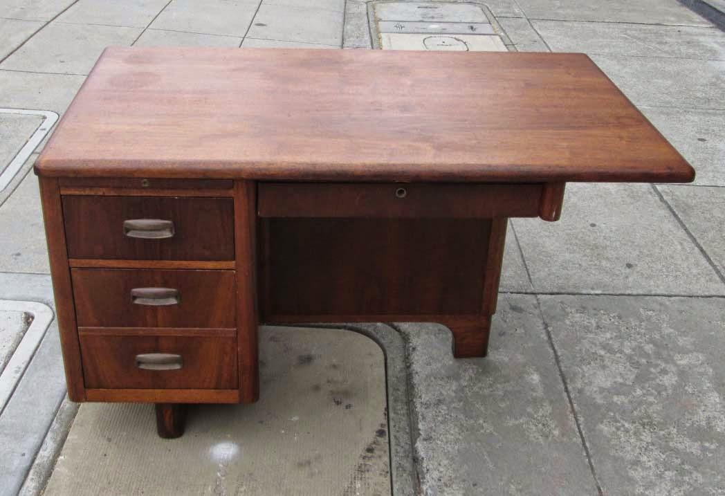 Uhuru furniture collectibles sold mid century walnut office desk 195 - Teak office desk ...