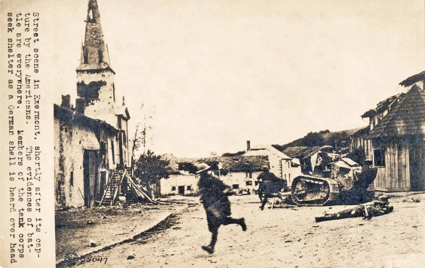 1919 postcard american troops under fire in exermont