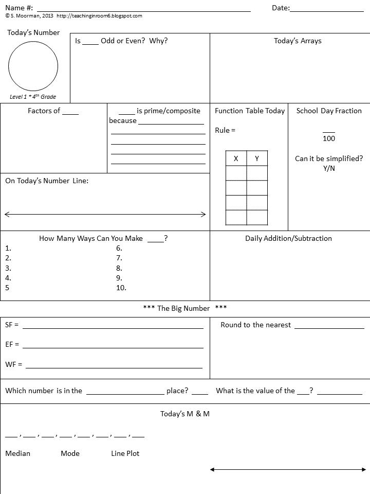 Calendar Math the basics Teaching in Room 6 – Envision Math Worksheets