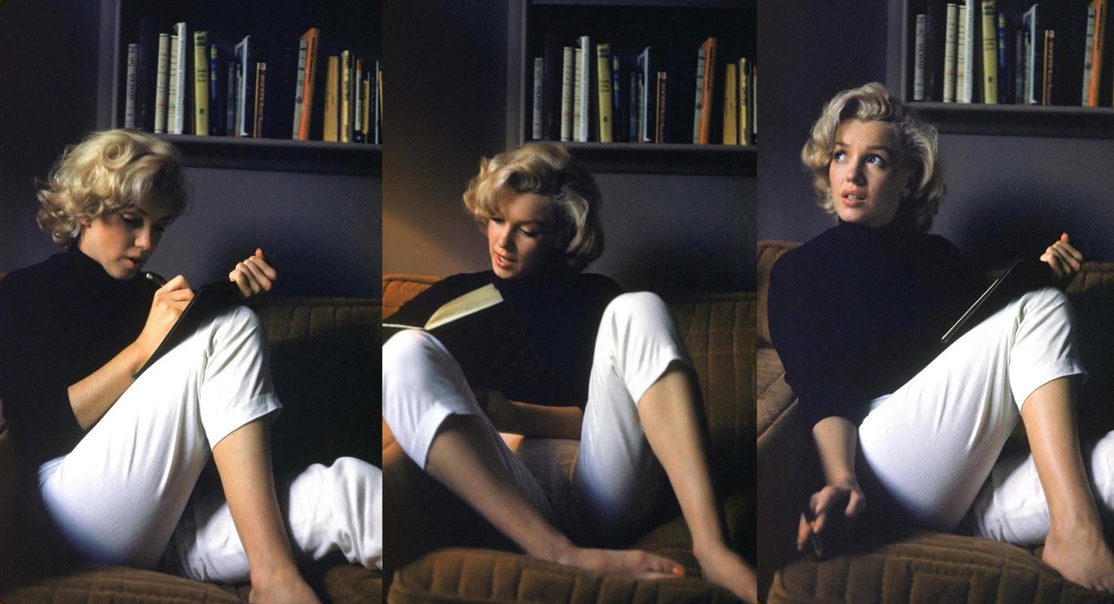 ¿Qué leen los famosos.... 2Marilyn+Monroe_reading+and+writing