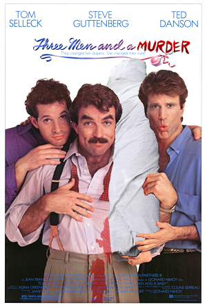 three men and a baby murder spoof poster
