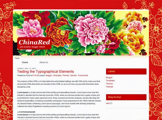 china red with flower blogger templates 2015 for blogspot