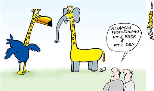 as alianças PT-PSDB e PT-DEM