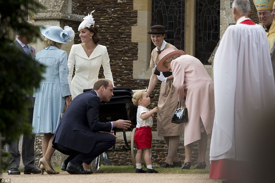 Future King Prince George greets the Queen at his sister's christening