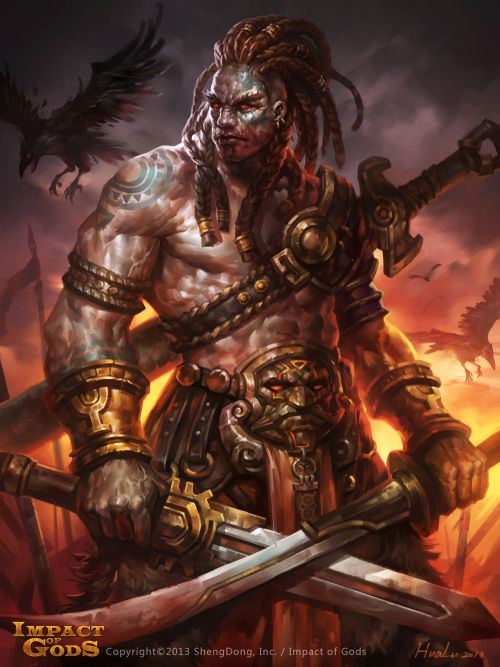 Lu Hua illustrations concept arts fantasy games Savage warrior