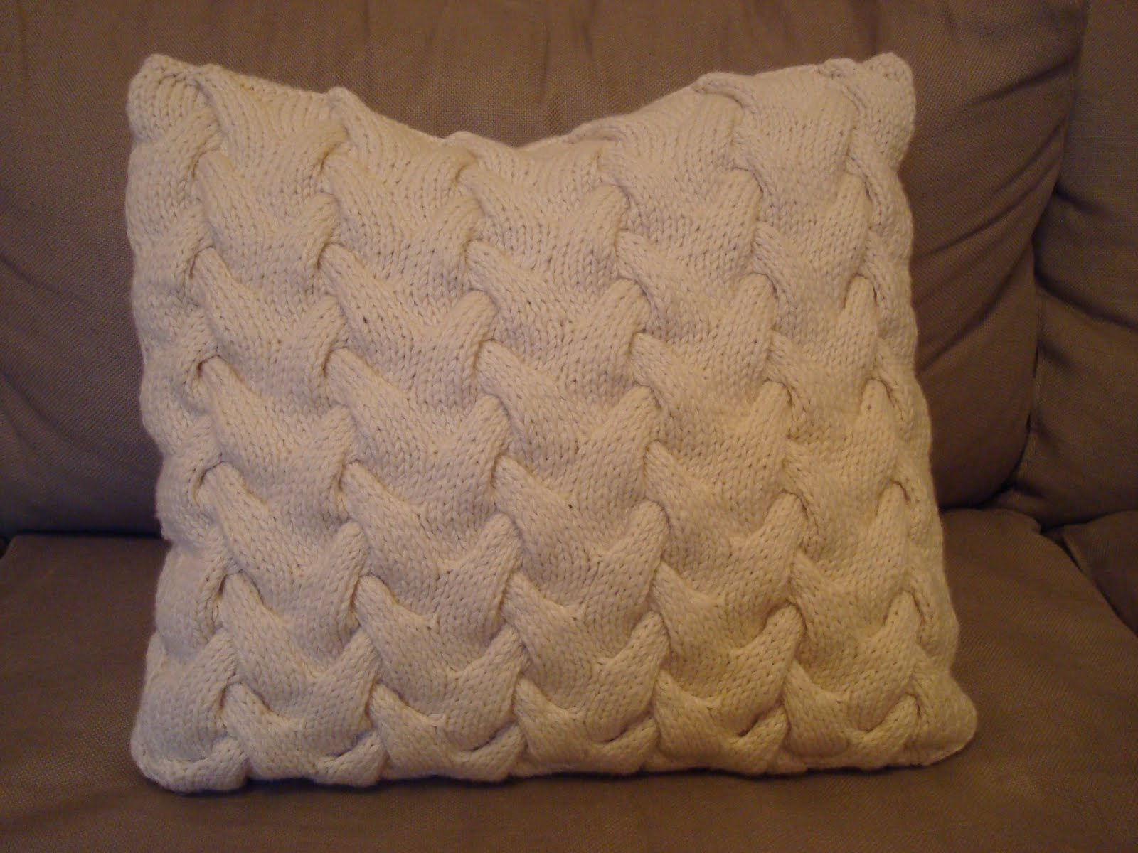 Knitting Pattern For Snood : next-stitch: cable knitted cushion cover