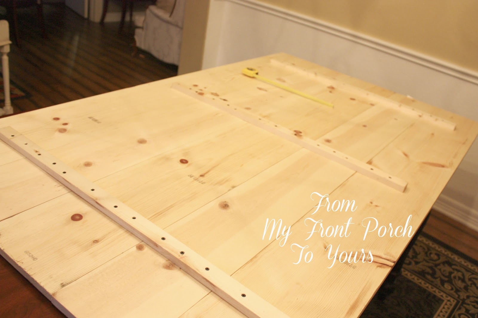 from my front porch to yours diy wood plank table top reveal. Black Bedroom Furniture Sets. Home Design Ideas