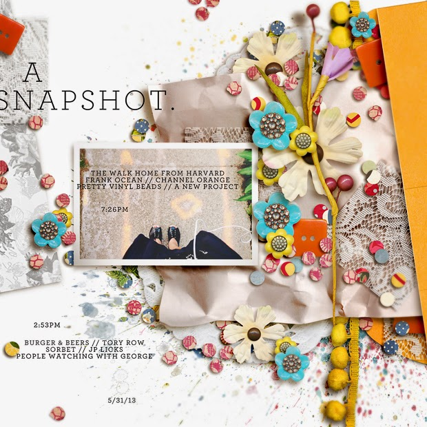 A Snapshot // Scrapbook Layout // 12x12 // Jar of Hearts by Juliana Kneipp