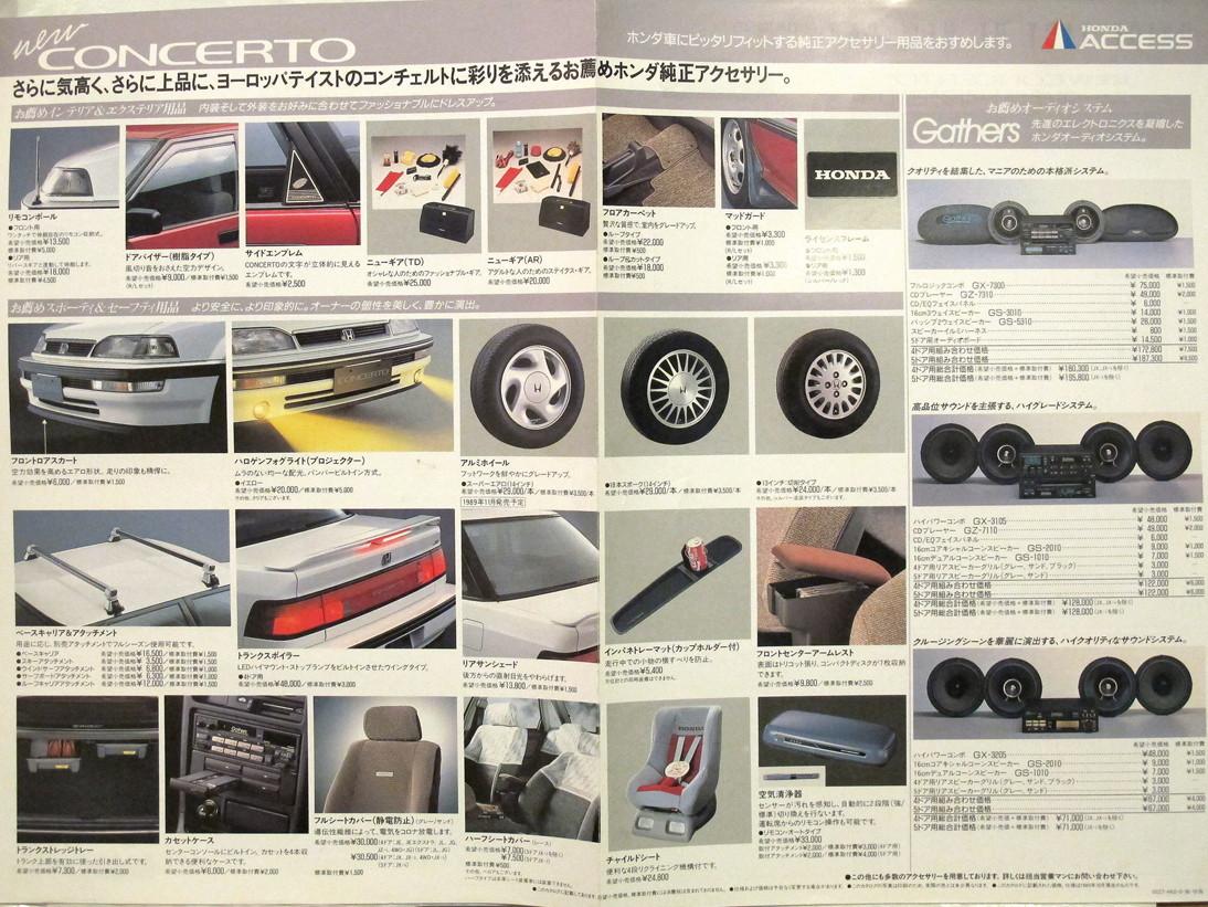 Honda Concerto, akcesoria, dodatki, opcje, katalog, rzadkie samochody, ciekawostki, JDM