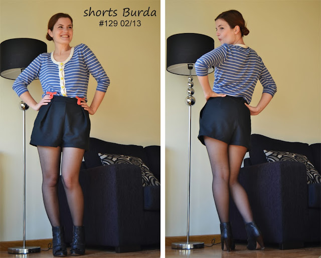 shorts, Burda, Burdastyle, Burda 129 02/13, front pleat, pocket, high waisted