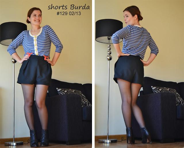 shorts, Burda, Burdastyle, Burda 129 02/13, front pleat, pocket, high waisted