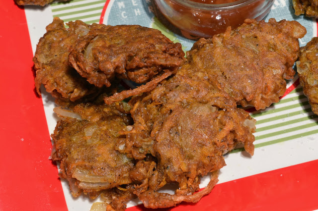 onion and butternut squash bhajis