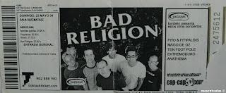 entrada de concierto de bad religion