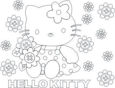 Desenhos Para Colori hello kitty com flores desenhar