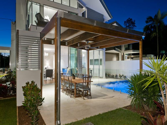 Photo of terrace by the pool in the modern contemporary home in Brisbane
