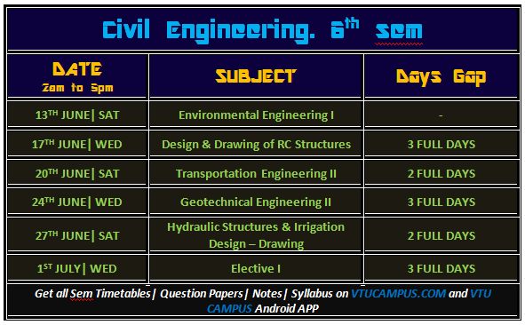Vtu 6th sem time table june july 2015 vtu campus for 6th sem time table
