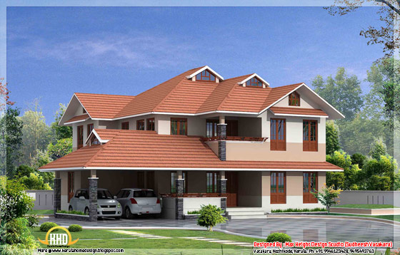 Beautiful Kerala style house elevation 5