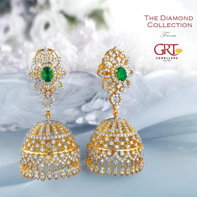 Grt Emerald Diamond Jhumkas Design 22kgolddesigns