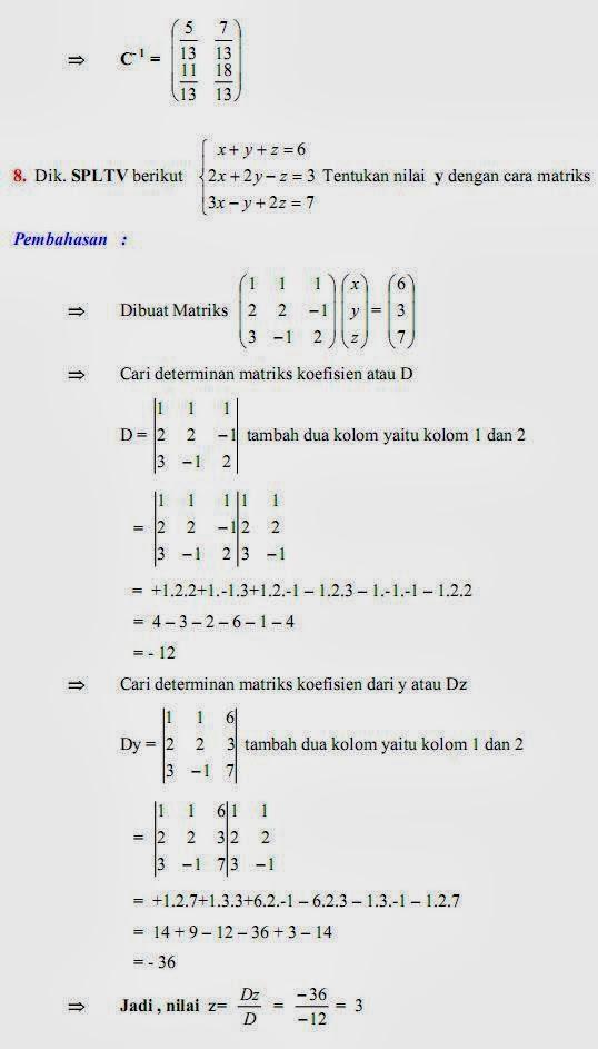 Matematika Di Sma Soal Dan Pembahasan Ulangan Bab Matriks Paket B