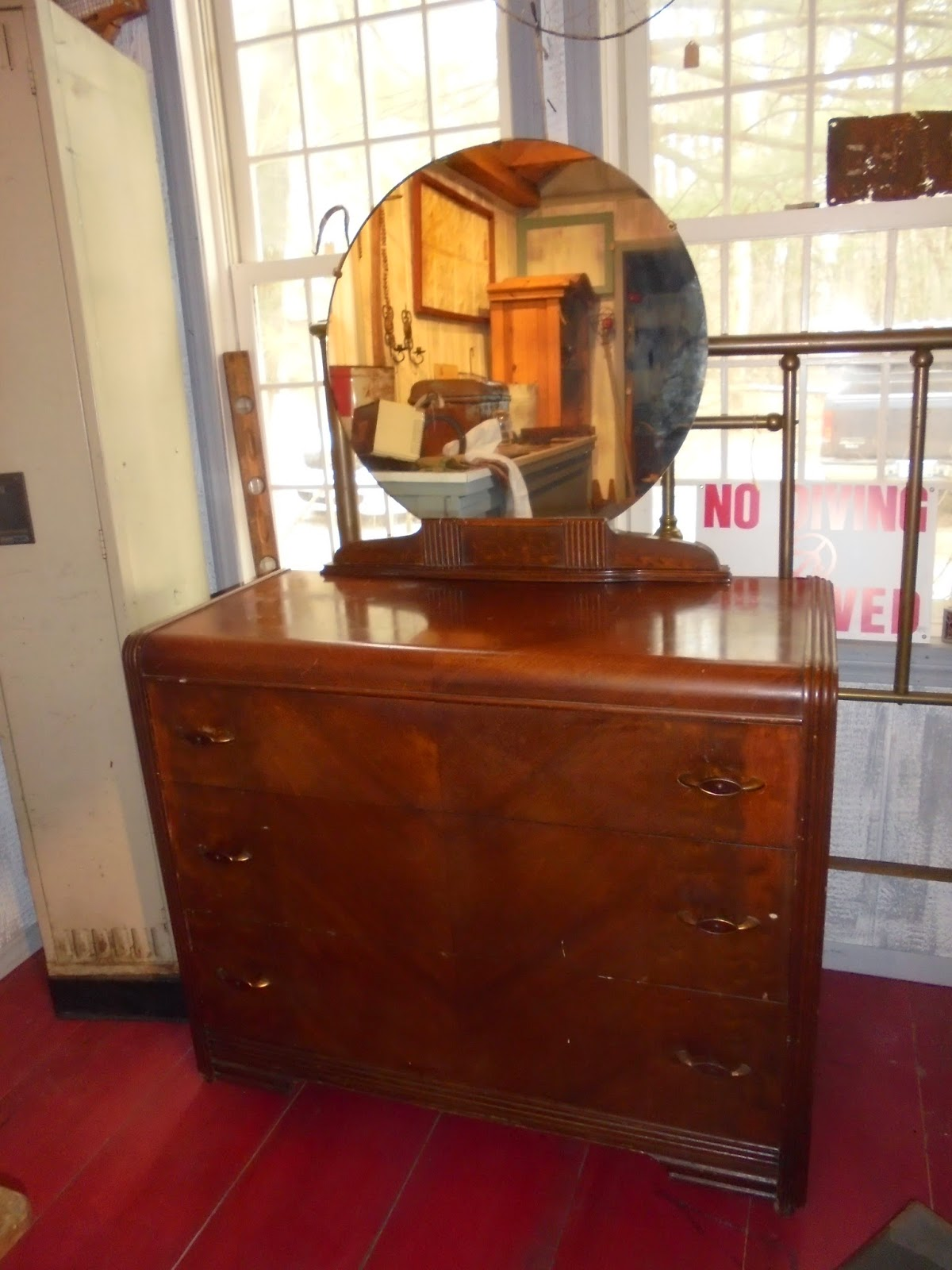 Log cabin antiques gifts waterfall bureau with mirror for Bureau with mirror