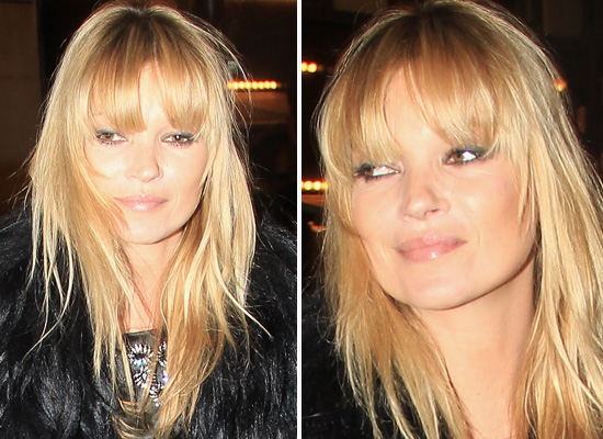 DIY how to cut leavy blunt bangs guide on Kate Moss