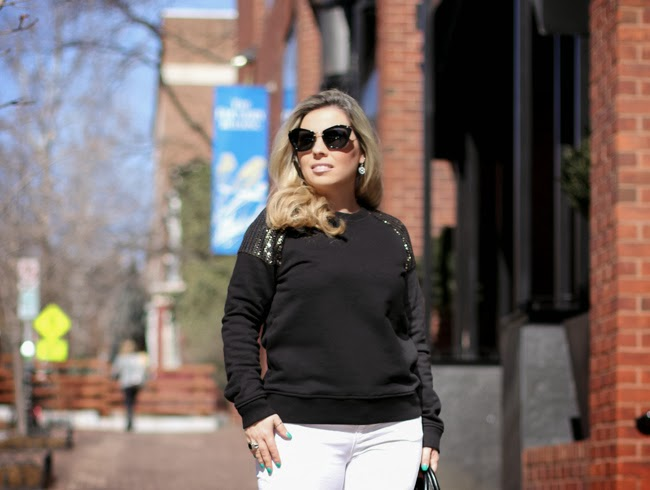 Zara white denim pants and Forever 21 black sweater