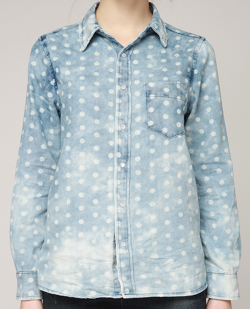 Dot Bleached Denim Shirt