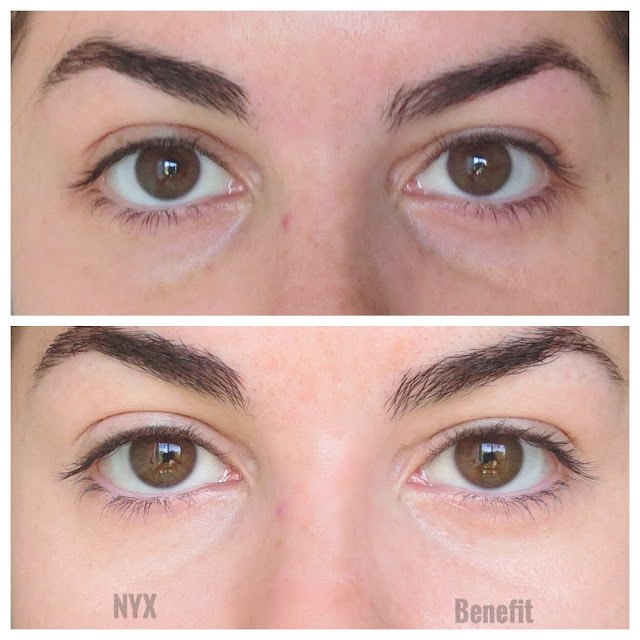 a picture of Benefit Erase Paste vs. NYX Dark Circle Concealer (before & after)