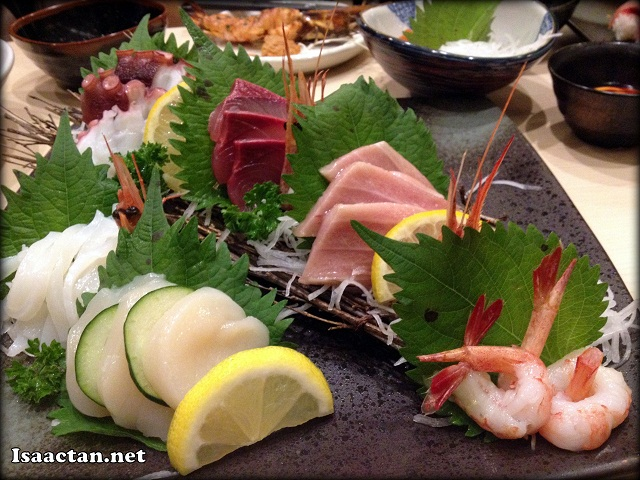 An assortment of raw delicacies, the seafood platter