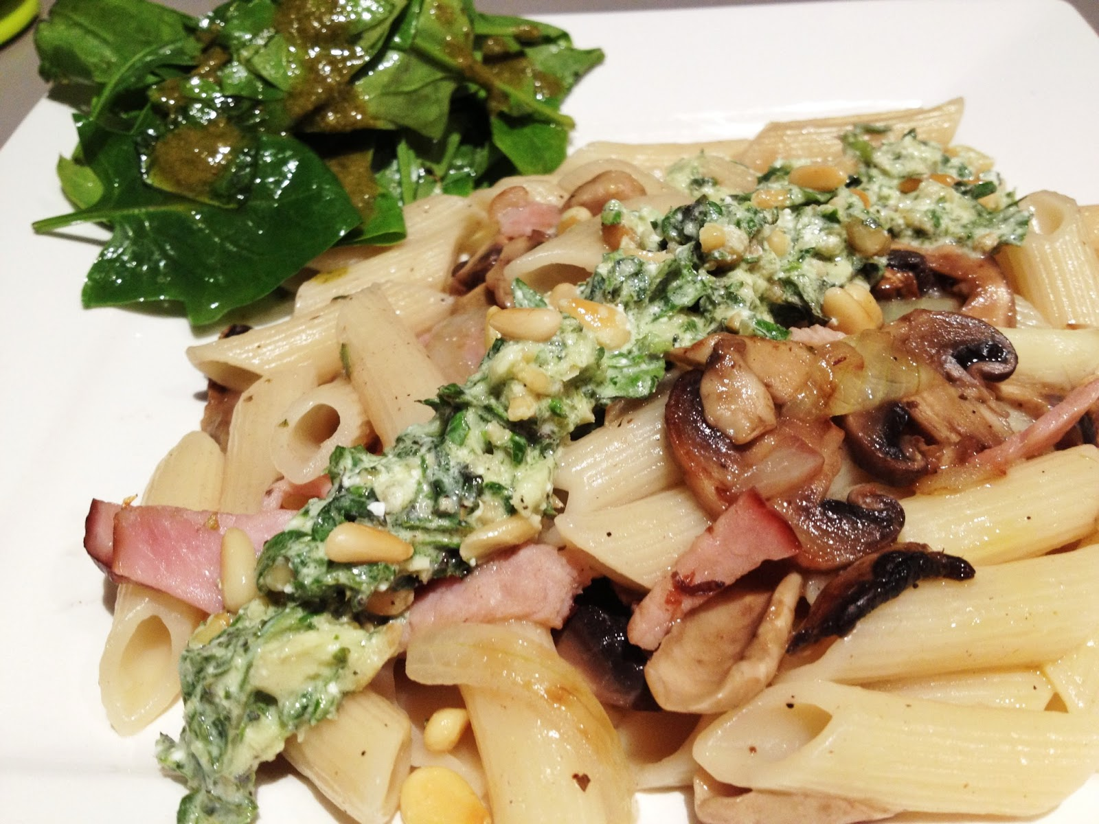 Penne with basil pesto + Baby spinach salad with basil vinaigrette ...