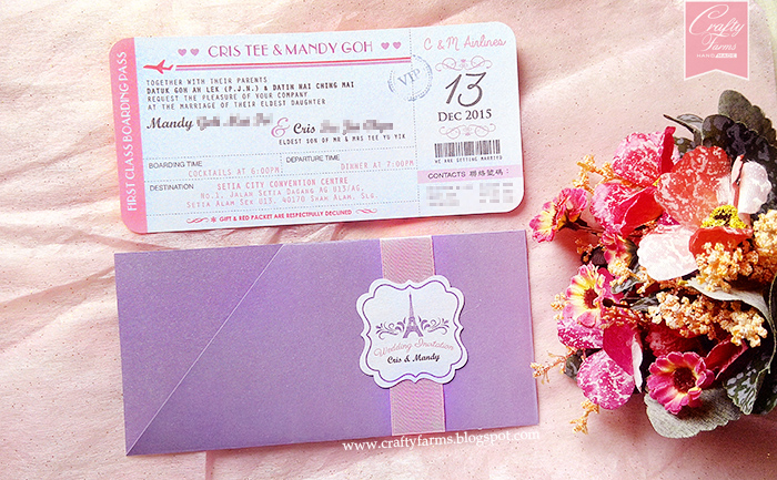 Wedding Card Malaysia | Crafty Farms Handmade : Paris Themed Purple ...